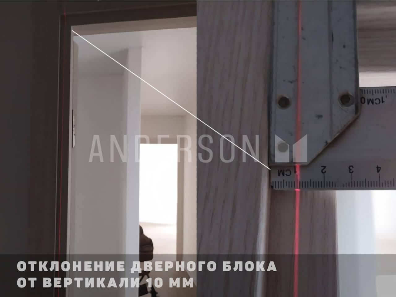 Отклонение дверного блока от вертикали