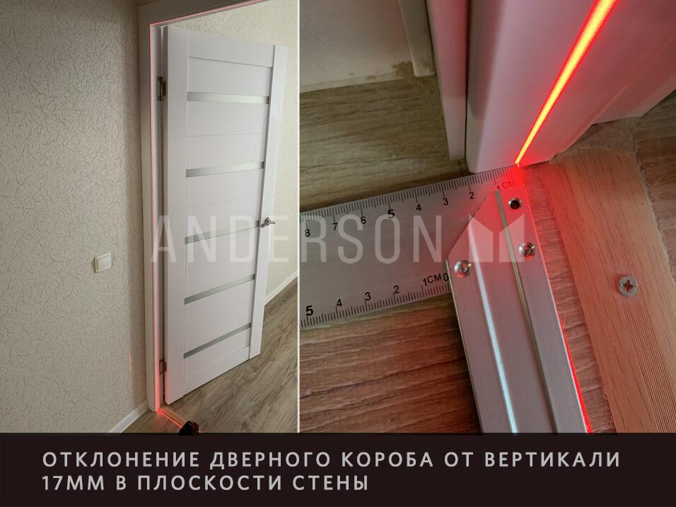 отклонение двери от вертикали в плоскости стены
